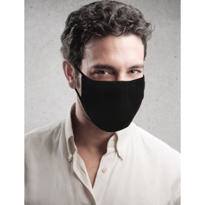 PASSION Reuseable Two Layer Cotton Face Mask, Black, One Size