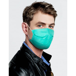 Reuseable Three Layer Spunbond Face Mask, Green, One Size