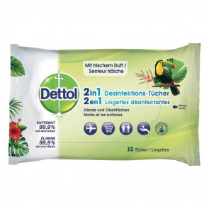 Dettol 2in1 Disinfection wipes, 15 pcs