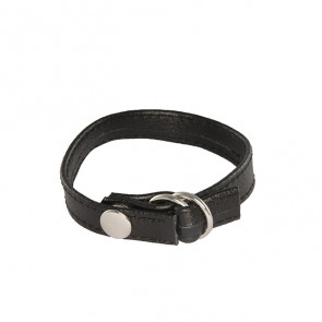 SI IGNITE Cinch Leather Cockring with snap & pull strap