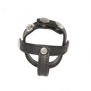 SI IGNITE H-Type Snap Ball Spreader, leather cockring, Black