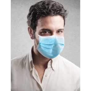Disposable Face Mask, 3-Layer, Light Blue, 50 Pack