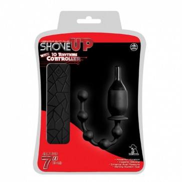 NMC Shove Up Vibrating Butt Plug with Beads Tail, Silicone, Black, 18 cm (7,0 in)