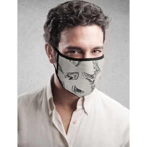 PASSION Reuseable Two Layer Cotton Face Mask, Grey with Sneakers Pattern, One Size