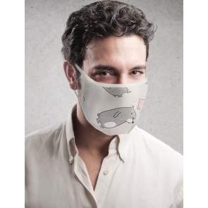PASSION Reuseable Two Layer Cotton Face Mask, Bears on Grey Background, One Size